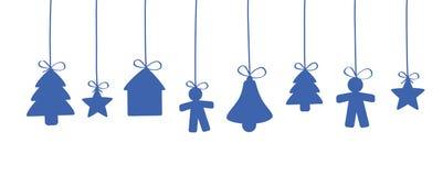 Suspensão azul das decorações do Natal ilustração do vetor
