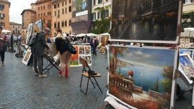 A suspensão Cardan disparou no passeio após artistas na praça Navona, Roma video estoque
