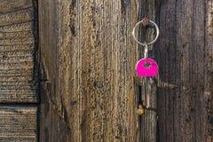 Suspensão chave cor-de-rosa no prego rústico Fotos de Stock Royalty Free