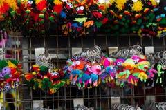 suspensão colorida feito a mão da porta-chaves da boneca-forma da tela Fotos de Stock Royalty Free