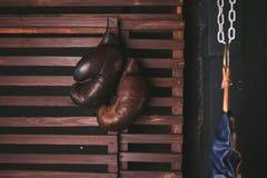 Suspensão das luvas de encaixotamento Foto de Stock