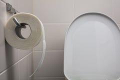 Suspensão de papel higiênico na parede Imagem de Stock