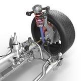 Suspensão dianteira com a roda do carro da movimentação Pneu novo No branco ilustração 3D Fotografia de Stock