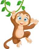 Suspensão feliz do macaco dos desenhos animados ilustração do vetor