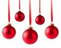 Suspensão vermelha de cinco bolas do Natal Fotos de Stock Royalty Free