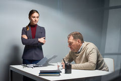 Suspense in Interrogation Room Stock Photography