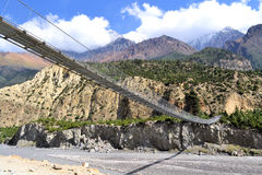 Suspensed Bridge, himalayas Nepal Royalty Free Stock Image