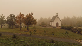 Suspenseful Foggy Autumn Scenery Royalty Free Stock Image