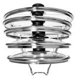 Suspensión de la cocina con las tapas de cristal para cocinar los potes Suspensión conveniente fotografía de archivo libre de regalías