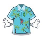 Suspensión hawaiana de las camisas de la historieta del ojo del dinero detrás de la puerta ilustración del vector