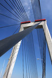 Suspension bridge. With cables reaching to the deck of the bridge from the columns Stock Photos