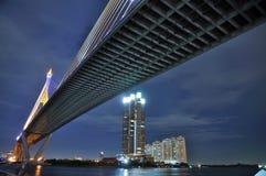 The suspension bridge. The industrial ring rope bridge in bangkok of thailand Stock Image