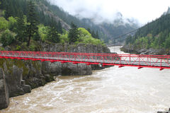 Suspension Bridge. Crossing the Frazer Canyon in Canada Royalty Free Stock Images