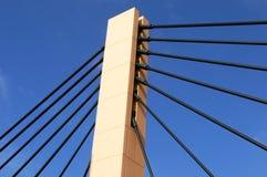 Suspension Bridge (2). Part of modern, suspension bridge in Wroclaw (Poland Stock Photo