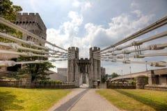 Suspension Bridge. Bridge and Castle in Conwy, North Wales Stock Photography