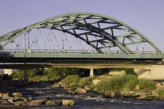Suspension Bridge. The Speer Boulevard Bridge in Denver, Colorado that suspends over the Platte River Stock Photos