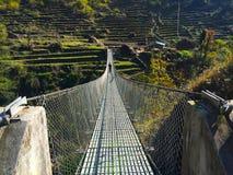Suspension bridge above the abyss, modern suspension bridge photo shot Royalty Free Stock Photography