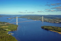 The suspension bridge from above Stock Photo