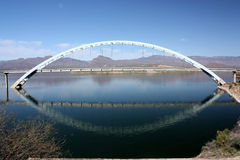 Suspension bridge above Theodore Roosevelt Lake Royalty Free Stock Photography