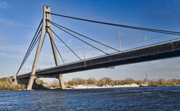 Suspension bridge across Dnieper river in Kiev Royalty Free Stock Photos