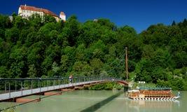 Suspension Bridge across the Inn River Stock Image