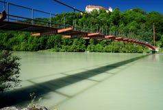 Suspension Bridge across the Inn River Stock Images