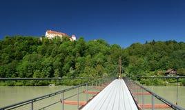 Suspension Bridge across the Inn River Stock Photo