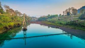 Suspension bridge  across Kwai river. Connect Tha Kha Nun temple and Thong Pha Phom village in Kanchanaburi province Stock Photography