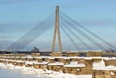Rope bridge at winter in Riga. royalty free stock photos