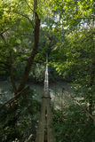 Suspension bridge across the river in the forest Royalty Free Stock Image