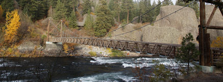 Suspension bridge across spokane river Stock Image