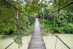 Suspension Bridge Across Tangkahan River in Tangkahan, Indonesia. An empty suspension bridge across Tangkahan River in Tangkahan, Indonesia Royalty Free Stock Photography
