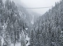 Suspension bridge across a valley. Bridge across a valley over snow-cocered royalty free stock image