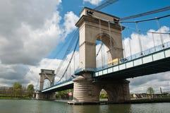 Suspension bridge in alfortville Stock Photo