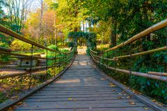 Suspension bridge in Arboretum, Sochi, Russia. Low-angle view of the suspension bridge with stone archs in Arboretum in sunny autumn day, Sochi, Russia Royalty Free Stock Photography