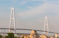 Suspension bridge architecture building  crossing sea. Stock Image