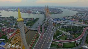 Suspension bridge in Bangkok city stock footage
