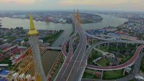 Suspension bridge in Bangkok city. Industrial Ring suspension bridge in Bangkok city Thailand, aerial shot stock footage