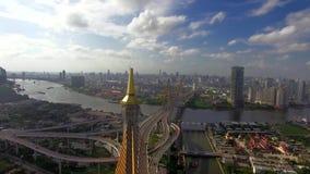 Suspension bridge in Bangkok city. Industrial Ring suspension bridge in Bangkok city Thailand, aerial shot stock video footage