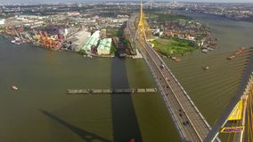 Suspension bridge in Bangkok city. Industrial Ring suspension bridge in Bangkok city Thailand, aerial shot stock video