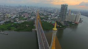 Suspension bridge in Bangkok. Industrial Ring suspension bridge in Bangkok city Thailand, aerial shot stock footage