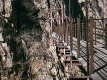 Suspension bridge in the beautiful mountains Seoraksan. Side view stock image