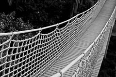 Suspension bridge in Black and White Stock Images