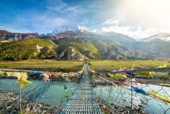 Suspension bridge with buddhist prayer flags. On the Annapurna circuit trek in Nepal royalty free stock image