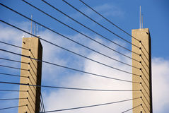 Suspension Bridge Cables. Strength and precision of suspension cables Stock Photos
