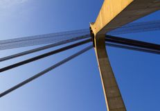 Suspension bridge with cables Royalty Free Stock Photos