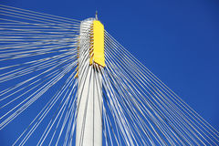 Suspension bridge with cables Stock Images