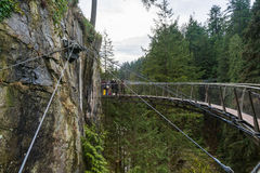 A suspension bridge at the Capilano Suspension Bridge Park Royalty Free Stock Image