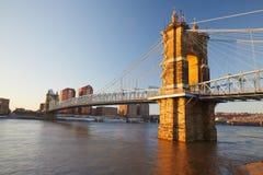 Suspension bridge in Cincinnati Ohio. John A. Roebling suspension bridge in Cincinnati Royalty Free Stock Images