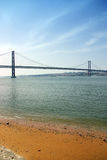 Suspension bridge in the city of Lisbon. Royalty Free Stock Images